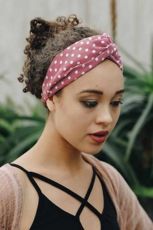 Red Stripe and Dot Twist Headband