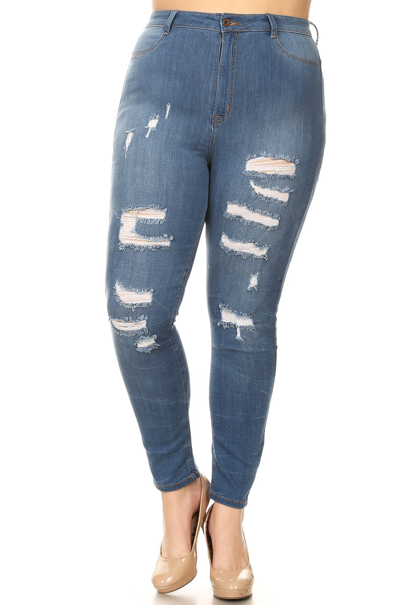 High Waisted Distressed Jeans - Trendy Plus Size Women's Boutique Clothing