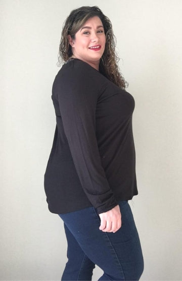 Black Cut Out Long Sleeve (Modal) - Trendy Plus Size Women's Boutique Clothing