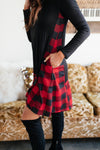 Hints Of Plaid Dress in Red