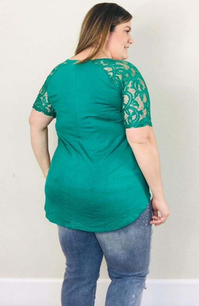 Lace Sleeve Tee | Forest Green - Trendy Plus Size Women's Boutique Clothing