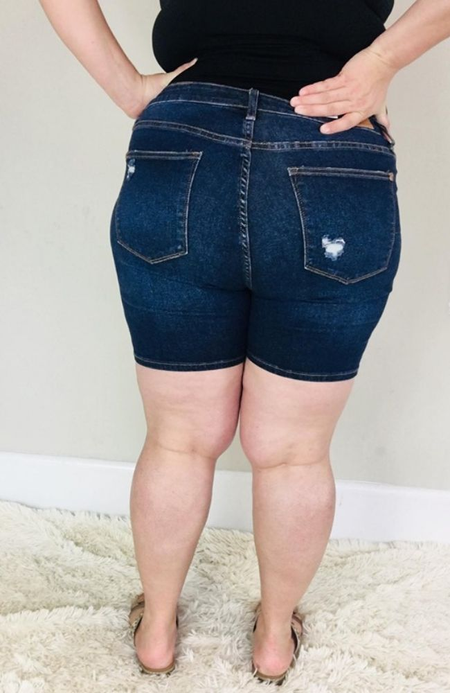 Plus Size Judy Blue Mid Thigh Destroyed Denim Shorts | Dark Wash - Trendy Plus Size Women's Boutique Clothing