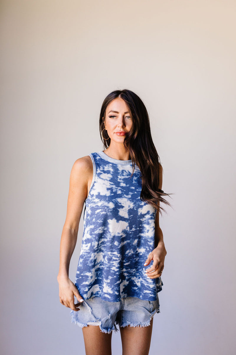 Moody Blue Thermal Tie Dye Top
