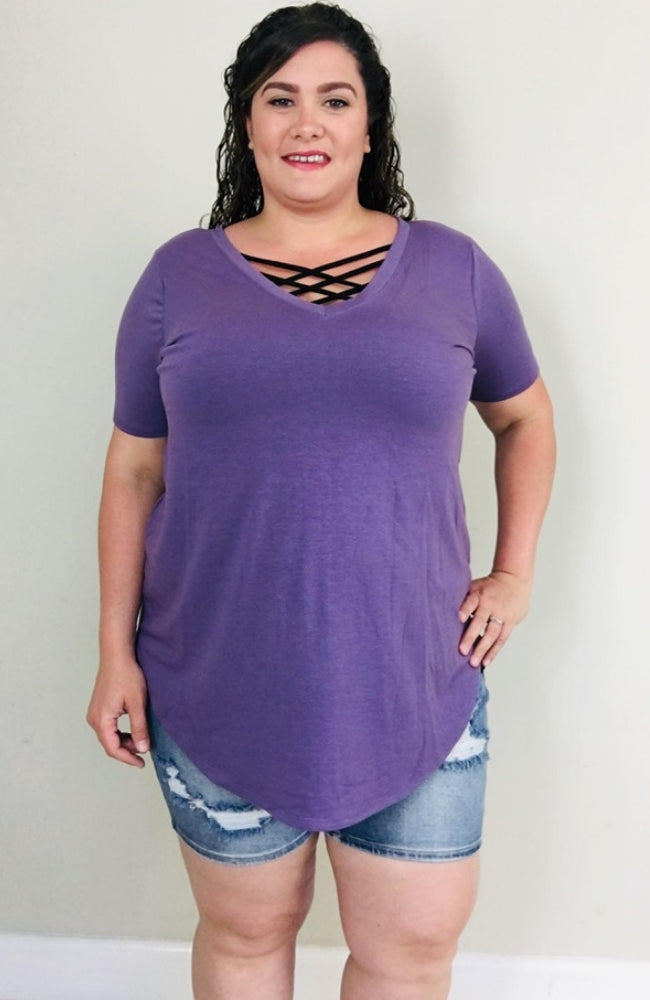 Perfect Tee | Lilac Grey - Trendy Plus Size Women's Boutique Clothing