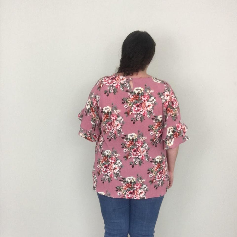 Dusty Rose Ruffle Sleeve Floral Top - Trendy Plus Size Women's Boutique Clothing