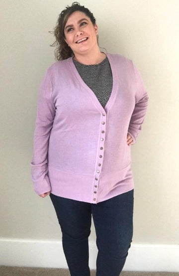 Snap Cardigan| Lilac Frost - Trendy Plus Size Women's Boutique Clothing