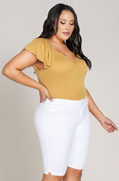 White WannaBettaButt  Mid Rise Bermuda - Trendy Plus Size Women's Boutique Clothing