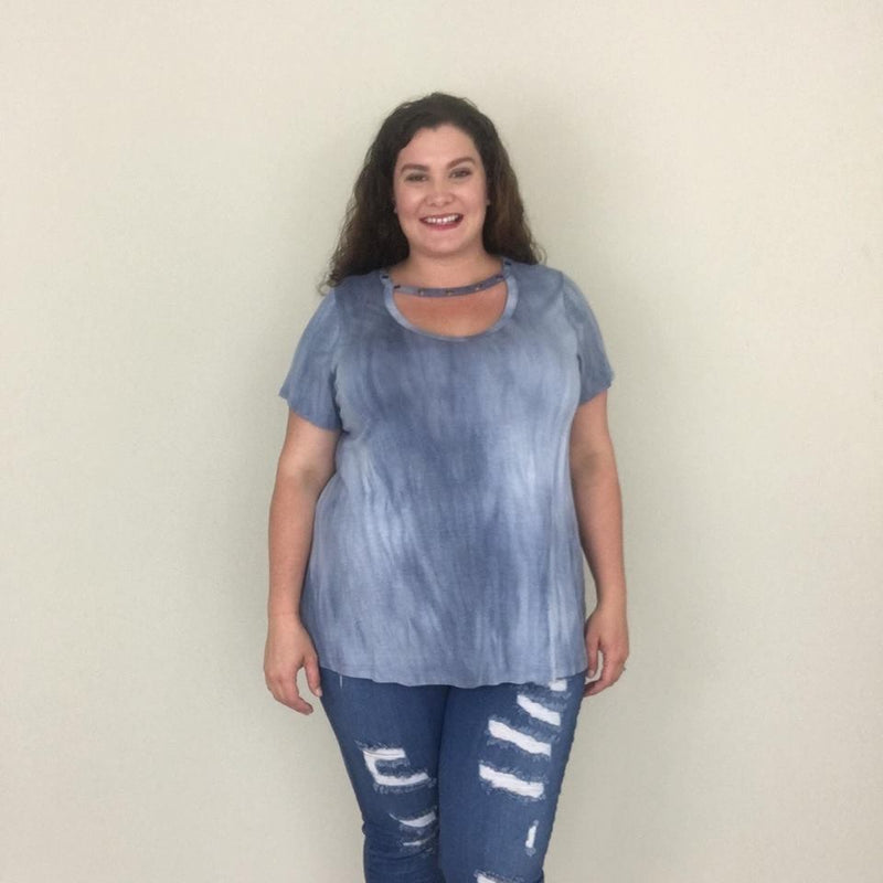 Navy Acid Wash Choker Tee - Trendy Plus Size Women's Boutique Clothing
