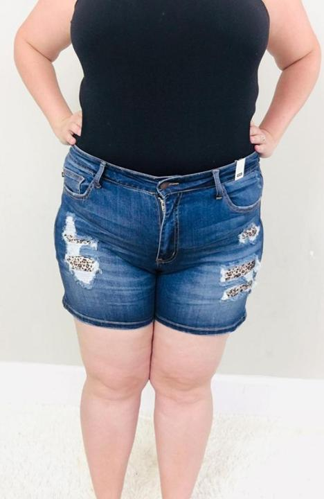 Plus Size Judy Blue Leopard Patch Shorts - Trendy Plus Size Women's Boutique Clothing