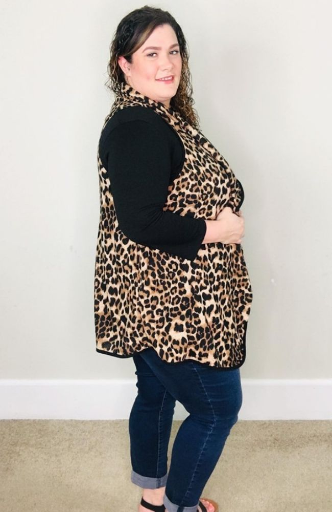 Leopard Drape Vest - Trendy Plus Size Women's Boutique Clothing