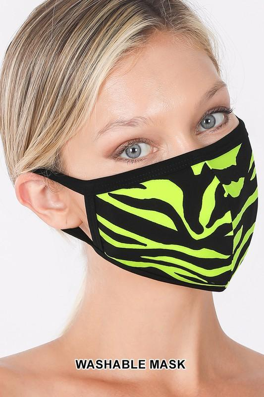 Neon Lime/Black Zebra Print Washable Cotton Face Cover
