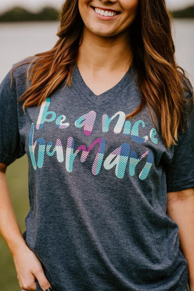 Be a Nice Human Tee - Trendy Plus Size Women's Boutique Clothing