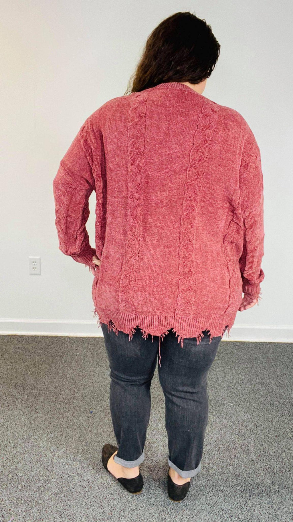 DISTRESSED BOTTOM KNITTED SWEATER PULLOVER | RED BEAN
