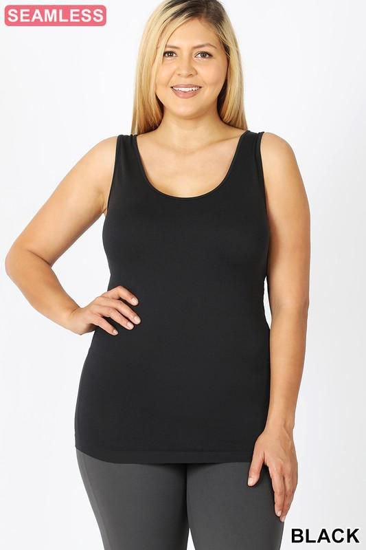SCOOP NECK SEAMLESS TANK TOP | Black