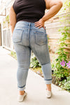 Beach Splash Destroyed Boyfriend Jeans - Trendy Plus Size Women's Boutique Clothing