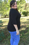 Criss Cross V neck Blouse | Black - Trendy Plus Size Women's Boutique Clothing