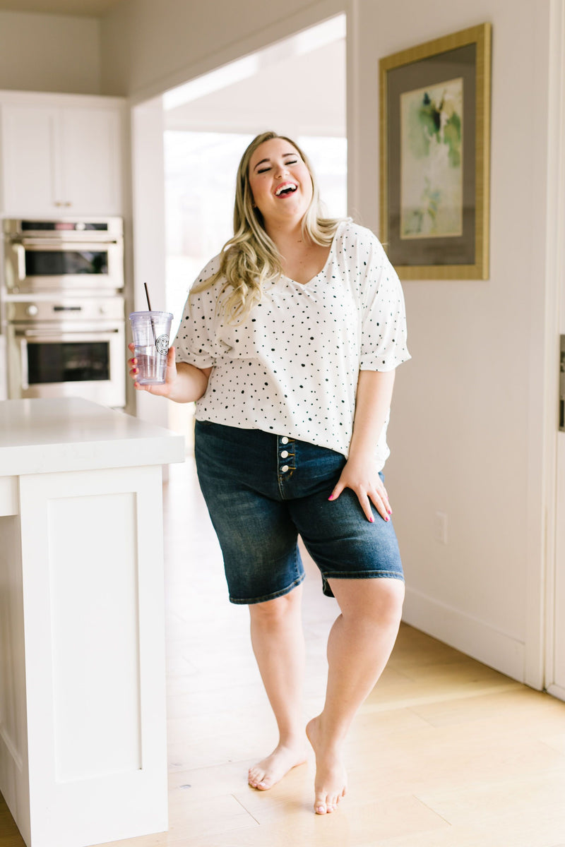 Button Fly Bermuda Shorts - Trendy Plus Size Women's Boutique Clothing