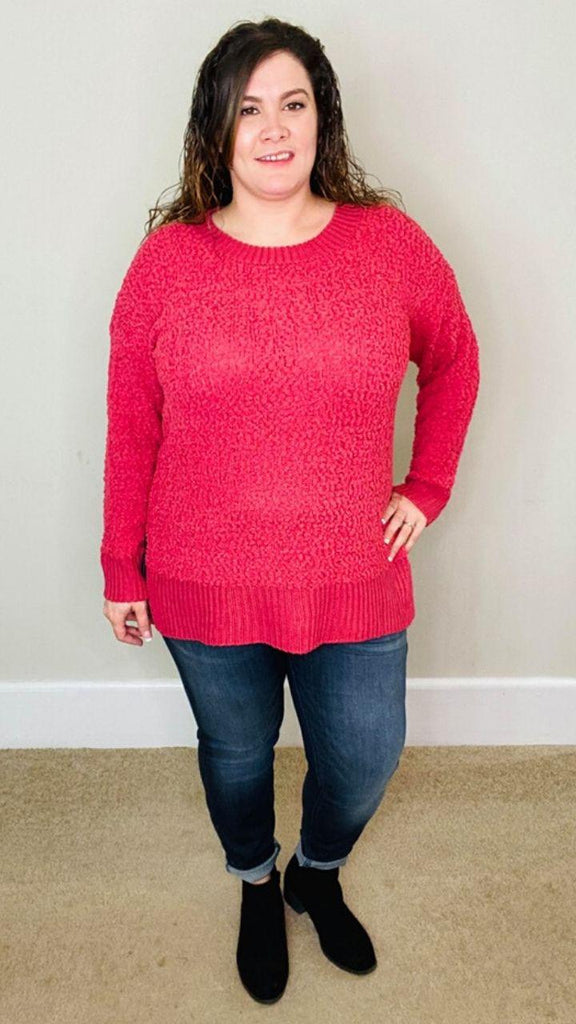 Popcorn Knit Sweater| Rose - Trendy Plus Size Women's Boutique Clothing