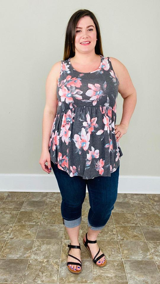 Charcoal Floral Tank - Trendy Plus Size Women's Boutique Clothing