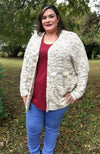 Cappuccino Textured Dolman Sleeve Sweater Cardigan - Trendy Plus Size Women's Boutique Clothing