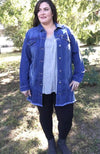 Distressed Oversize Denim Jacket - Trendy Plus Size Women's Boutique Clothing
