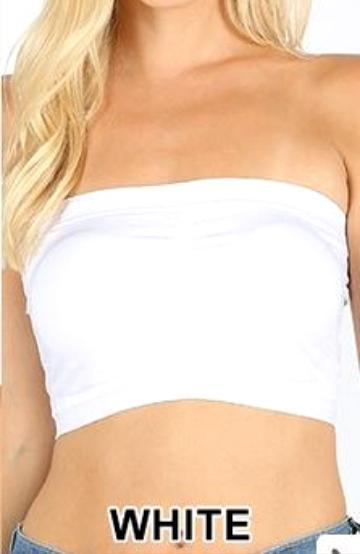 Padded Bralette Bandeau | White - Trendy Plus Size Women's Boutique Clothing