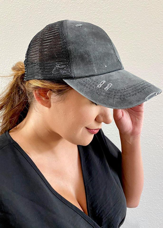 CrissCross Ponytail Baseball Cap | Black