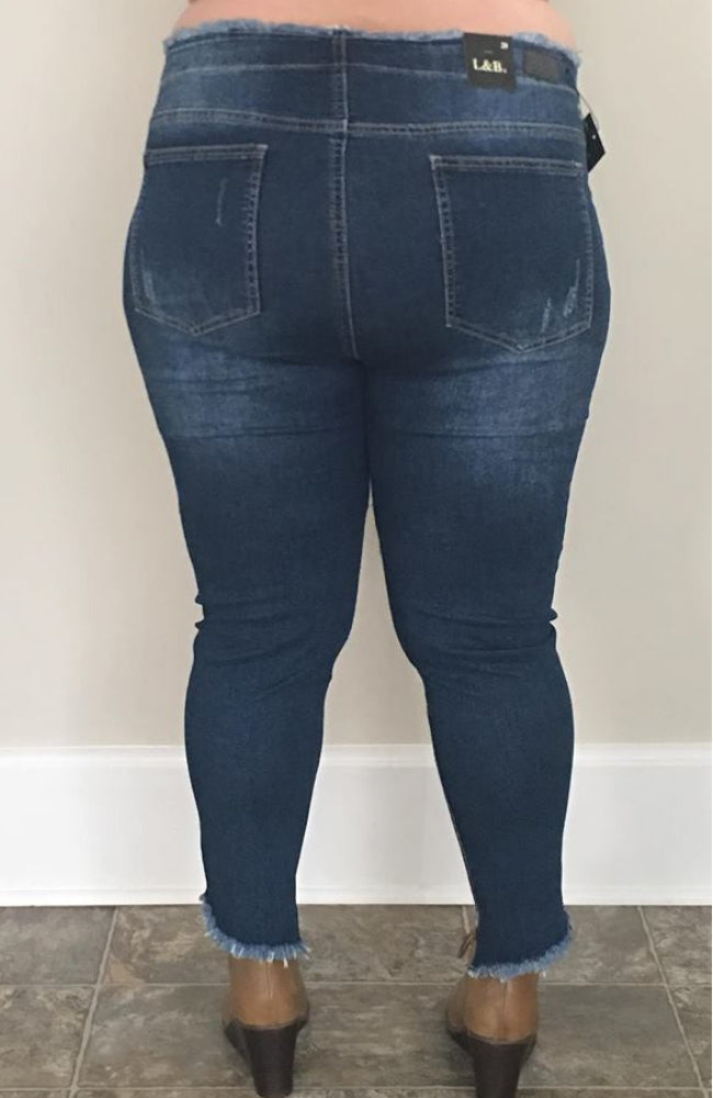 Dark Wash Distressed| High Waist Ankle Skinny Denim - Trendy Plus Size Women's Boutique Clothing