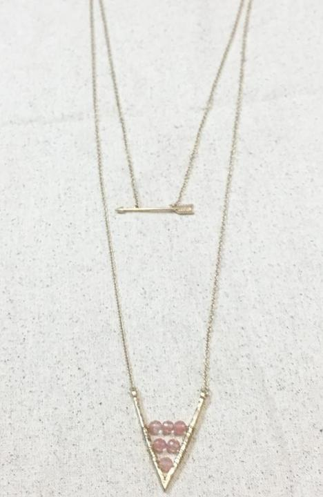 Dainty Layered Arrows Necklace - Trendy Plus Size Women's Boutique Clothing