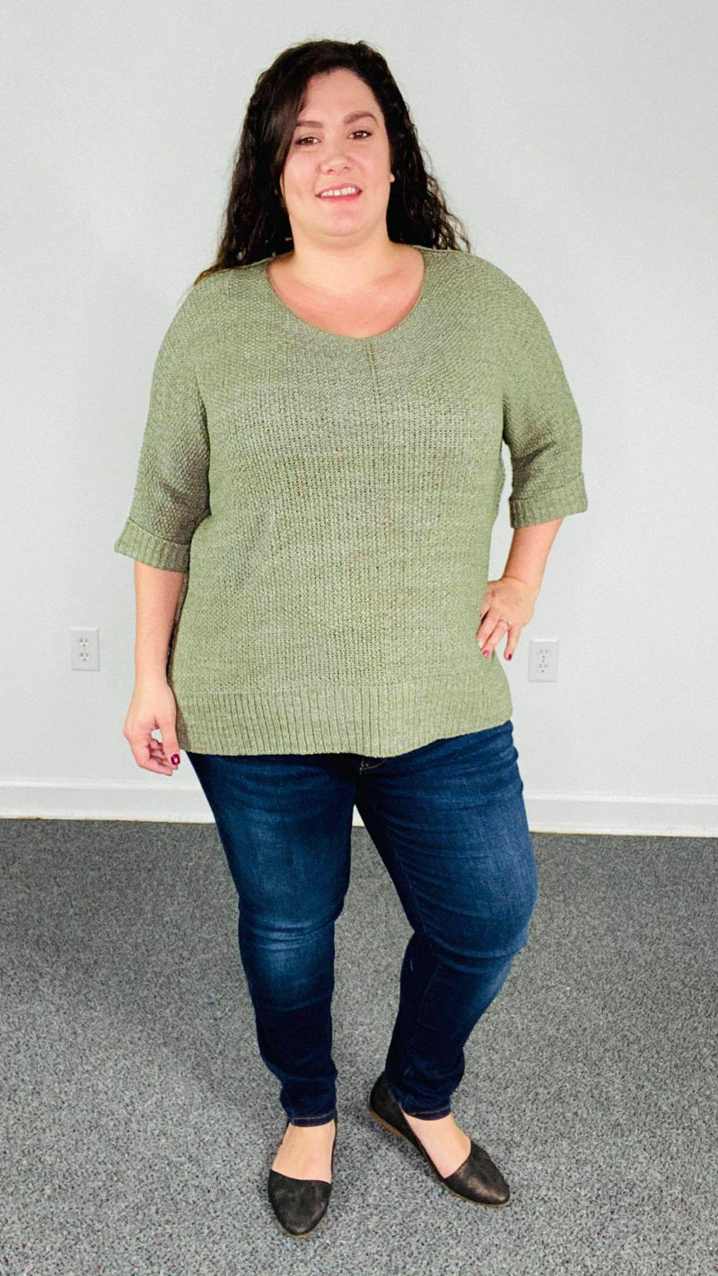 ITS A BREEZE SWEATER KNIT TOP | Faded Olive