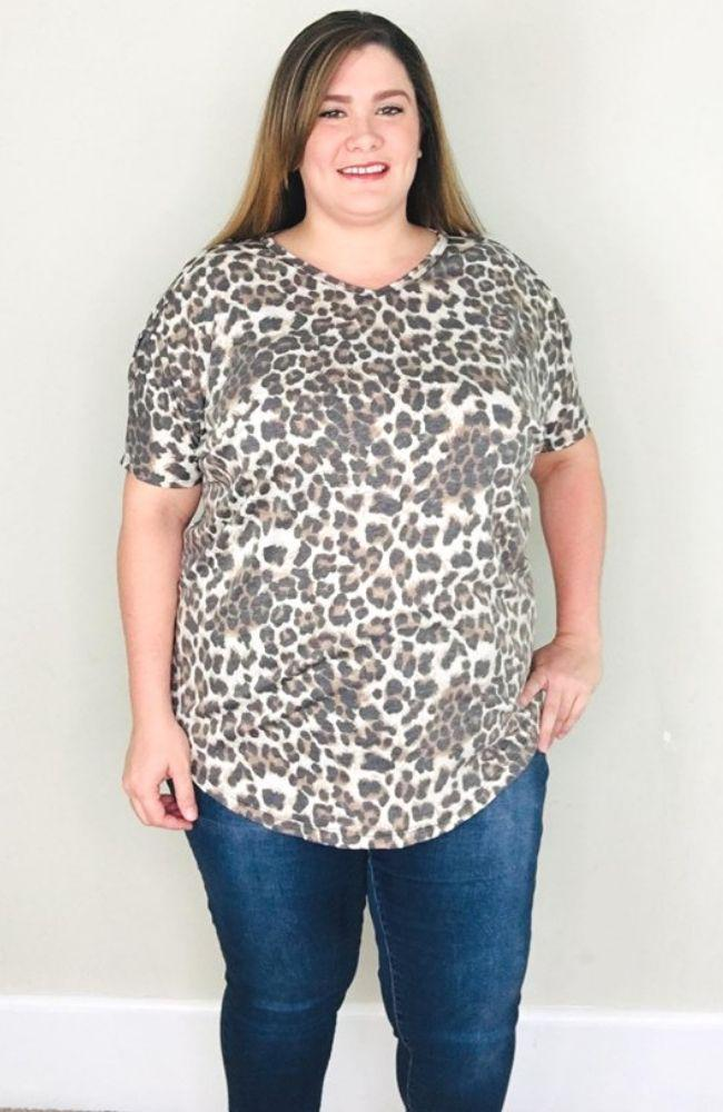 Animal Print Criss Cross Sleeve Tee - Trendy Plus Size Women's Boutique Clothing