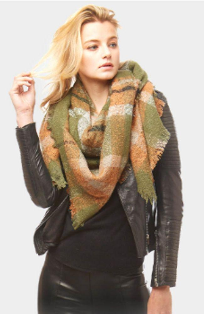 Olive Green Plaid Blanket Scarf - Trendy Plus Size Women's Boutique Clothing