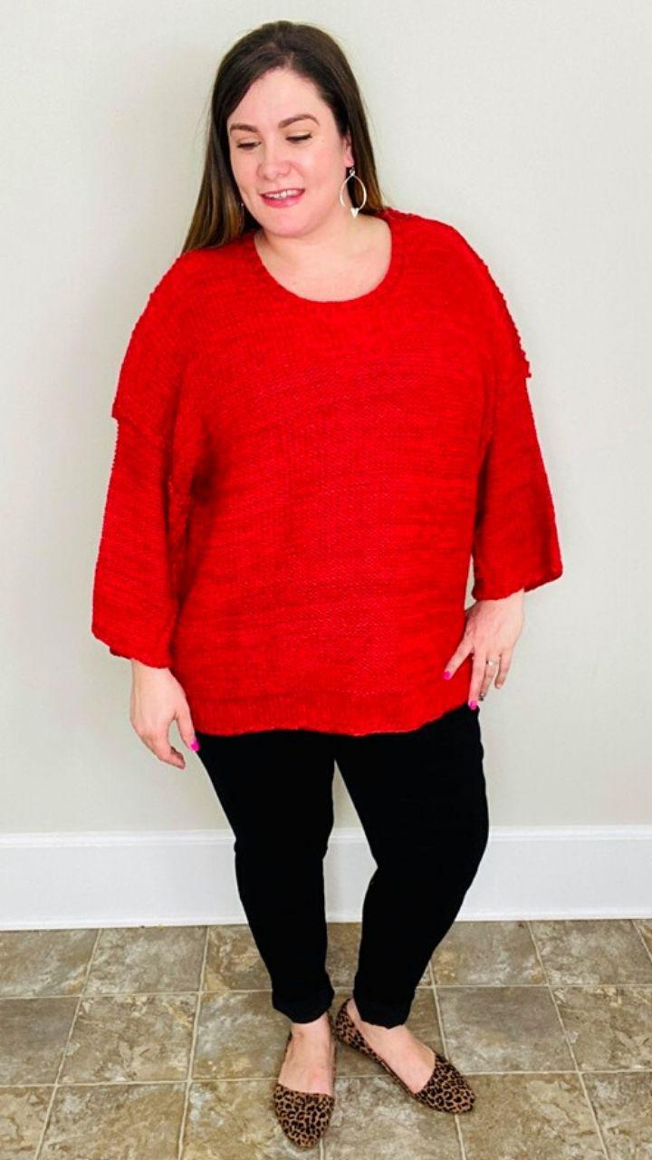 A Dozen Roses | Scarlet Red Sweater - Trendy Plus Size Women's Boutique Clothing