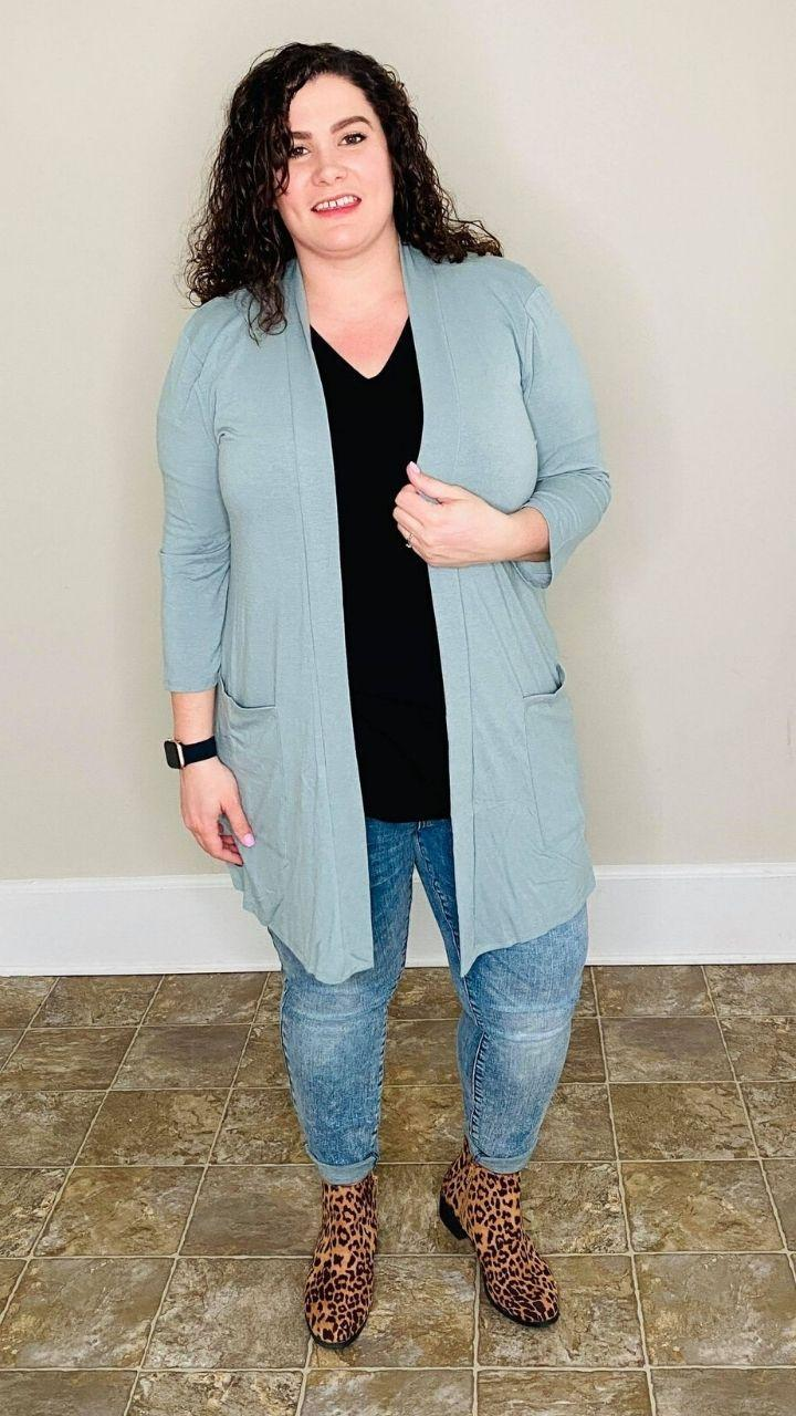 3/4 SLEEVE SLOUCHY POCKET OPEN CARDIGAN | LT Green
