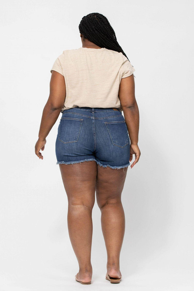Plus Judy Blue Mid-Rise Destroyed Cut-Off Shorts