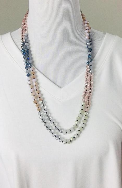 "60"" Blush Multi Bead Necklace - Trendy Plus Size Women's Boutique Clothing"