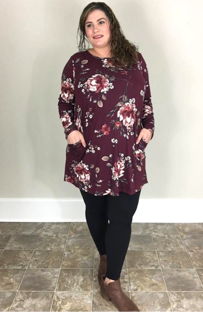 Burgundy Floral Swing Dress - Trendy Plus Size Women's Boutique Clothing