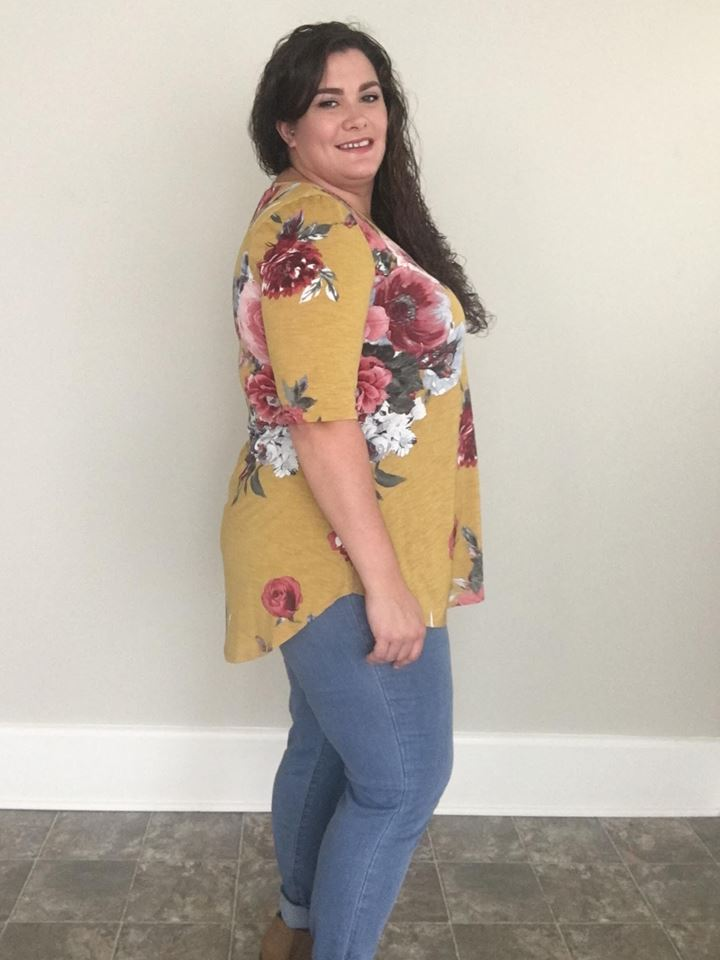 Mustard Floral Tee - Trendy Plus Size Women's Boutique Clothing