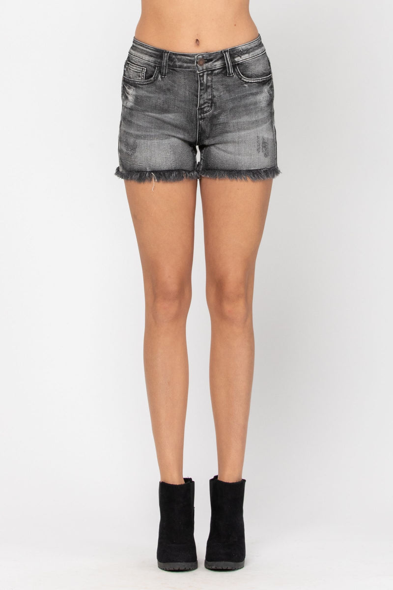 Black Frey Hem Cut-Off Judy Blue Short