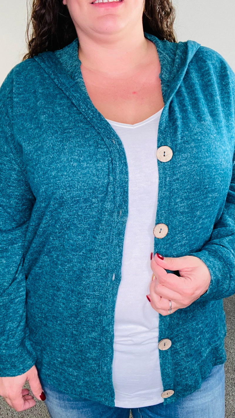 Long Sleeve Button Knit Cardigan| Teal Green