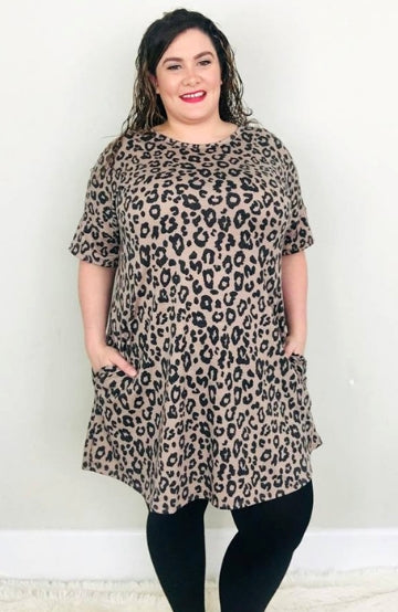 Mocha Leopard Swing Tunic Dress - Trendy Plus Size Women's Boutique Clothing