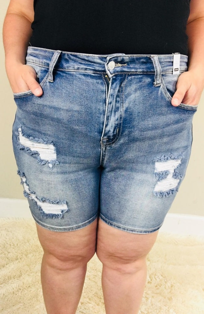 Plus Size Judy Blue Mid Thigh Destroyed Denim Shorts - Trendy Plus Size Women's Boutique Clothing