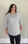 Navy Stripe Raglan Tee - Trendy Plus Size Women's Boutique Clothing