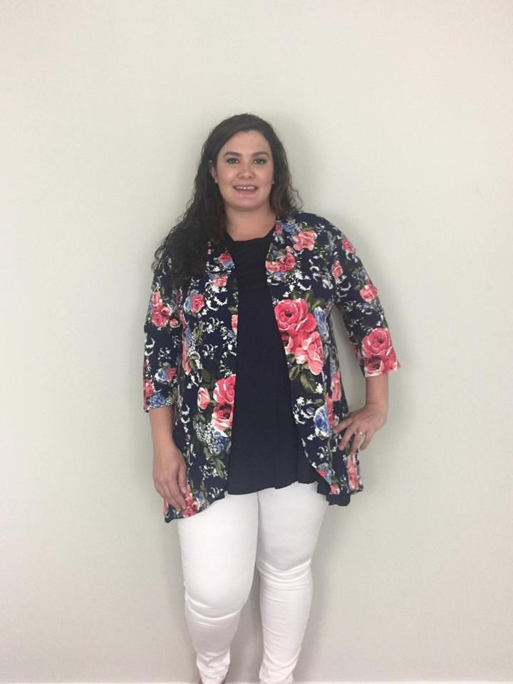 Navy Floral Cardigan - Trendy Plus Size Women's Boutique Clothing
