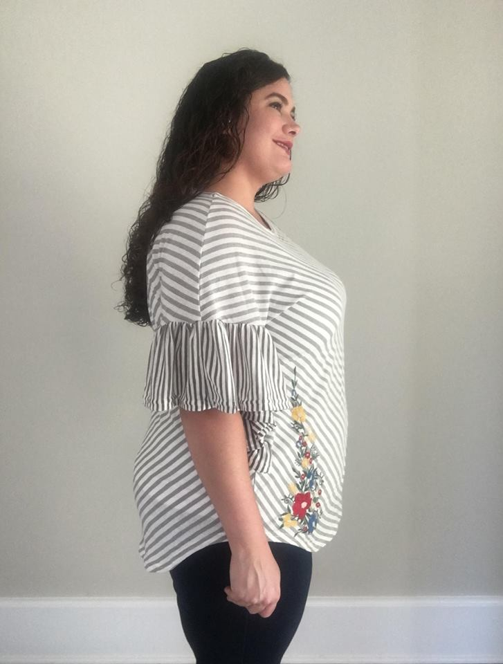 Striped and Floral Embroidered Ruffle Sleeve Top - Trendy Plus Size Women's Boutique Clothing