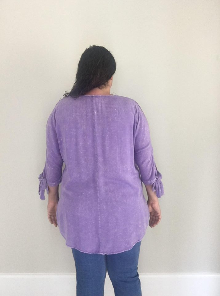 3/4 Washed Tie Sleeve| Violet - Trendy Plus Size Women's Boutique Clothing