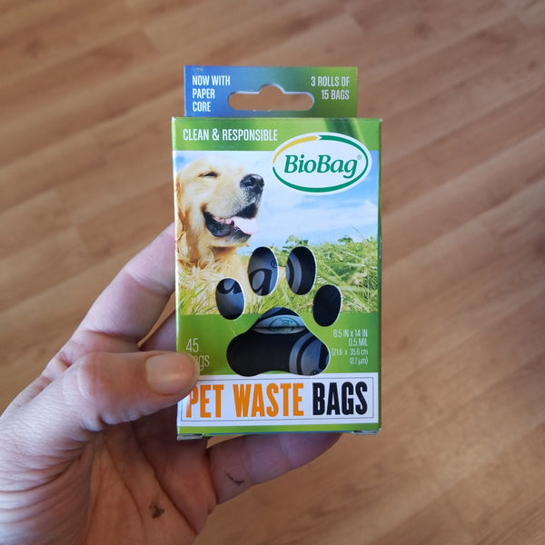 BioBag Pet Waste Bags - Compostable - 3 rolls of 15 bags each, 45 bags total