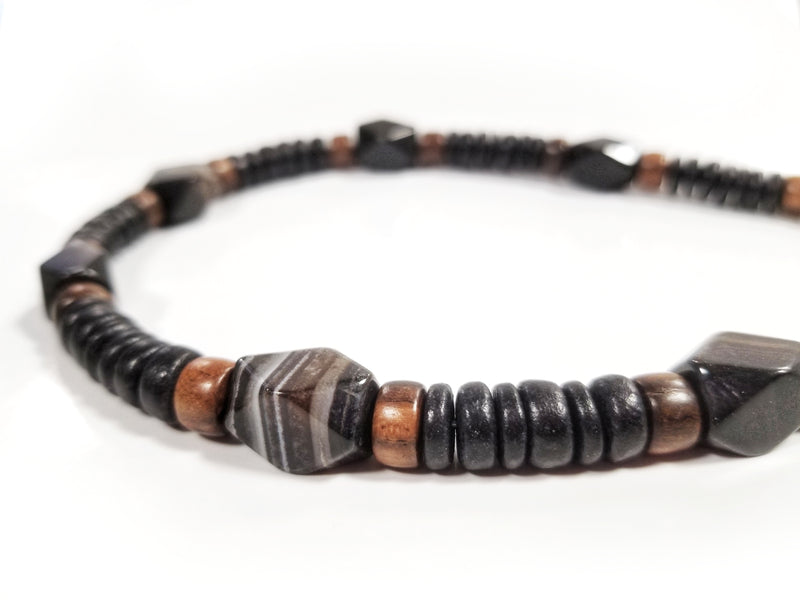 Men's Beaded Necklace - Black Agate