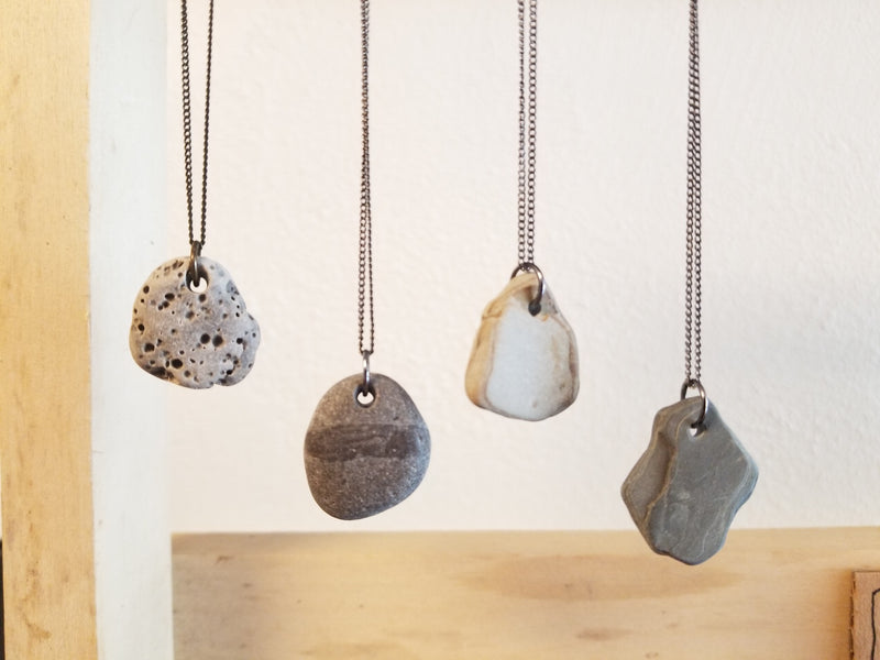 Simple Stone Necklace - Lake Michigan Stones