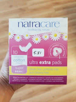 Natracare Ultra Extra Pads with Wings Super 10 count